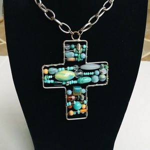 Jewelry - Beautiful Cross Stone Silver Necklace Turquoise